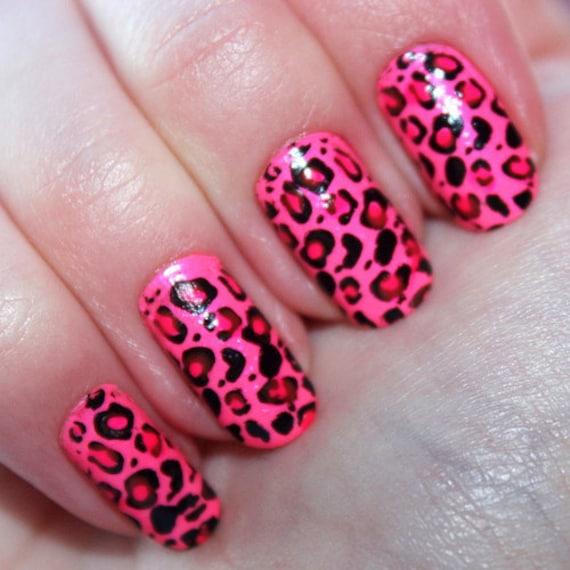Calcomanías De Impresión De Uñas De Leopardo Rosa