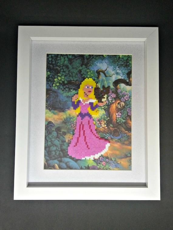 Handmade Disney Princess Inspired Sleeping Beauty, Aurora Hama Bead, Perler  Bead, Pixel Art Framed Picture