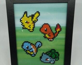 Handmade Pokemon Inspired Framed Picture, Pikachu, Charmander, Squirtle, Bulbasaur