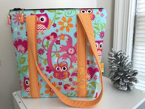Personalized Custom Owl Tote, Handbag, Purse, Tablet Case