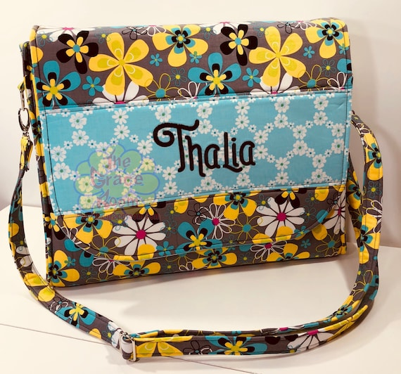Floral Laptop Messenger Bag, Diaper Bag, Universal Large Tote, Laptop Bag, Bookbag, with Optional Embroidered Personalization and Fabric