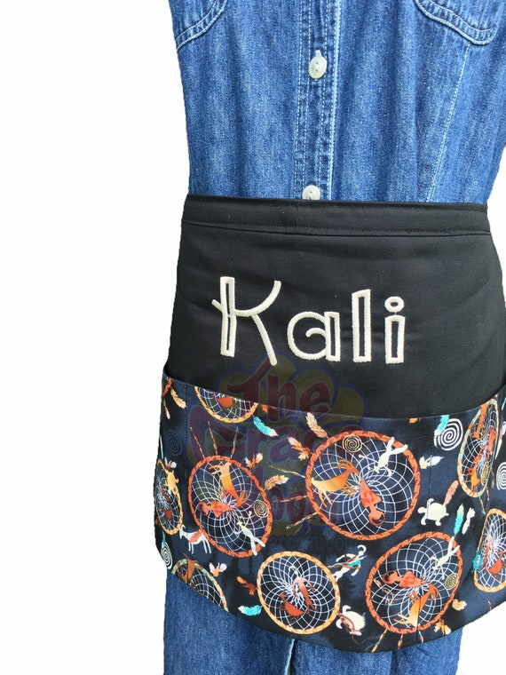 Dream Catcher Heavy Duty Waist Apron with Three Pockets and Optional Personalization and Custom Fabric Choice