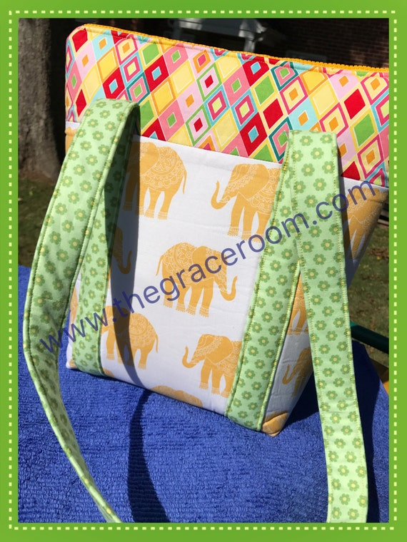 Custom Elephant Handbag with Optional Personalization and Fabric Choice, Monogrammed Purse, Tote, Tablet Bag, Bible Bag, Gift For Mom