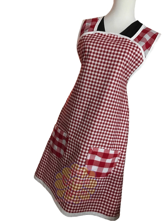 Red Gingham Vintage Full Apron with Optional Personalization and Custom Fabric