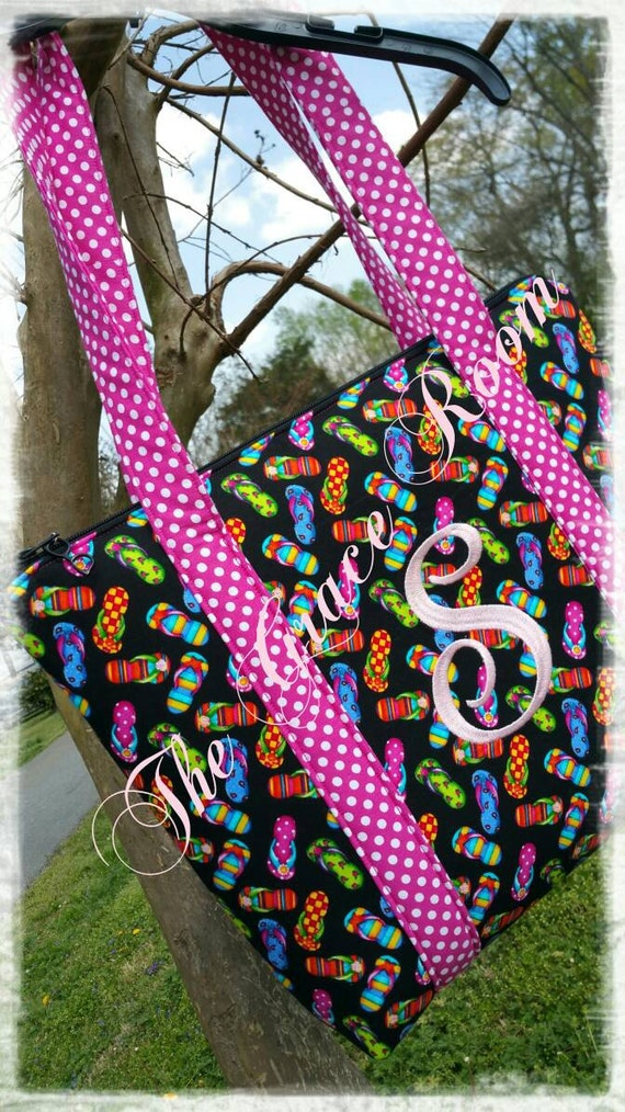 Personalized Custom Large Flip Flop Tote or Beach Bag