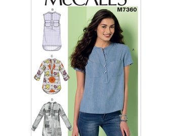 McCalls sewing pattern M7360 - blouse - casual - with chest pocket