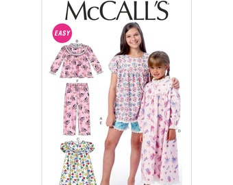McCalls Sewing Pattern M6831 - Pyjamas - Nightgown - Girls