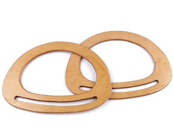 1 pair (2 pieces)Pocket handles - wood - oval - 14.5 x 19.5 cm - natural lacquered