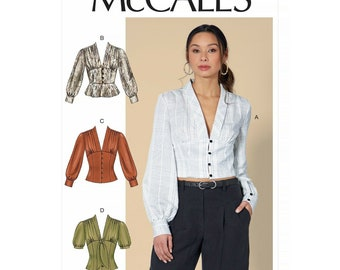McCalls sewing pattern M7978 - blouse - shirt - waisted - ruffle in top