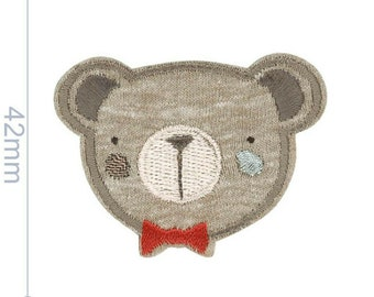 Iron-on patch decoration applique - embroidered - teddy head - grey/h'brown
