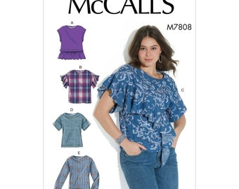 McCalls sewing pattern M7808 - blouse - shirt - cropped arm
