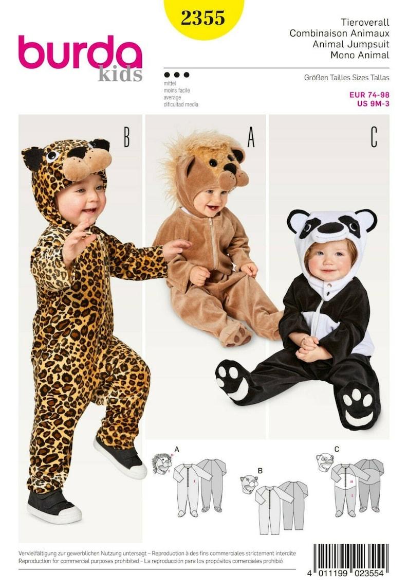 Burda Style Cut Pattern-Carnival-3x Animal overall-# 2355