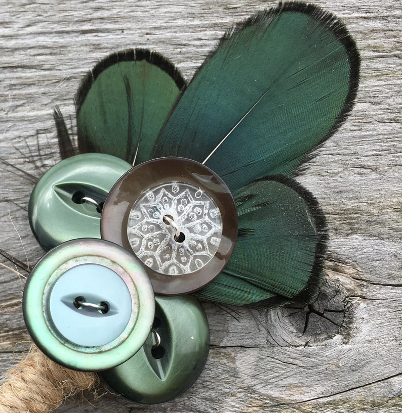 Two Grooms Rustic Boho Green Vintage Glass  Button Feather Groom /& Groom Customisable Boutonniere Corsage Buttonhole Country Wedding