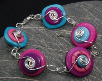 Bracelet Silver Plated Contemporary Jewellery Jewelry Cerise Pink Turquoise Blue Purple Mauve Lilac Handmade Gift Buttons Silver Plated Wire
