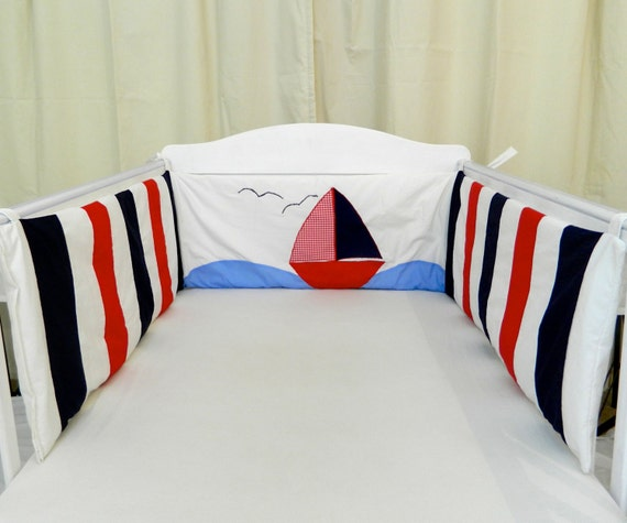 Nautical Sailing Boat Cot Bumper In, White And Navy Cot Bedding