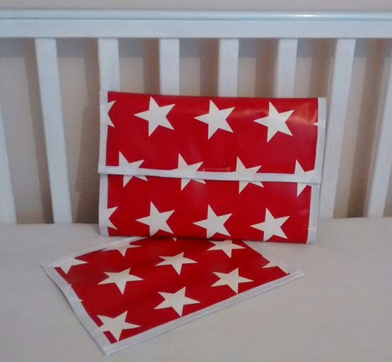 Grey Star Ditsy Baby Travel Change Mat Handmade In Wipe Clean PVC