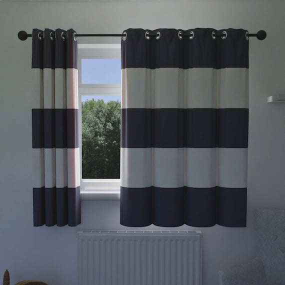 Navy And White Wide Striped Curtains, Navy Striped Curtains