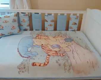 Classic Winnie the pooh blue baby bedding set