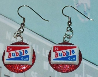 Handcrafted Novelty 1 Cent Bubble Gum Dangle Pierced Earrings