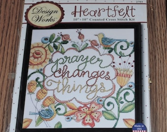 """Sealed Design Works Heartfelt #2793 PRAYER Changes Things, Counted Cross Stitch Picture Kit 10""""x10"""""""