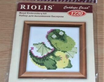 "Riolis Bead Embroidery Kit #1220 CUTE GREEN DRAGON 4""x4"""
