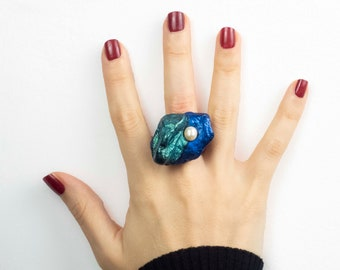 Black statement ring for women bold contemporary polymer clay jewelry with genuine Freshwater pearls