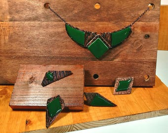 Ceramic necklaces for women geometric bib necklace elegant polymer clay jewelry green ceramic statement necklace atlantis necklace