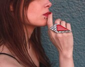Red polymer clay ring, geometric polymer clay jewelry, modern chunky edgy rings for women