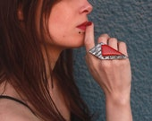 Oversized modernist ring, Contemporary polymer clay jewelry, silver and red large statement rings for women