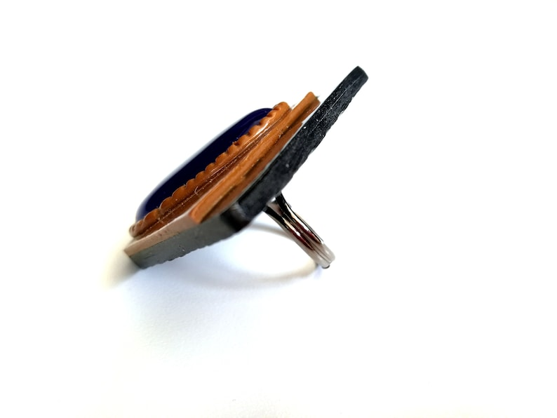 oversize rings for women Bold large statement ring modern geometric polymer clay jewelry big navy blue polymer clay ring