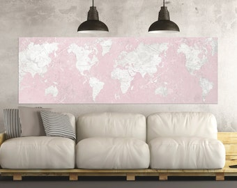 World map canvas print vintage mint vanilla world map etsy world map canvas print vintage world map horizontal extra large long wall art vintage map oversized pink gray map big wall art design poster gumiabroncs Image collections