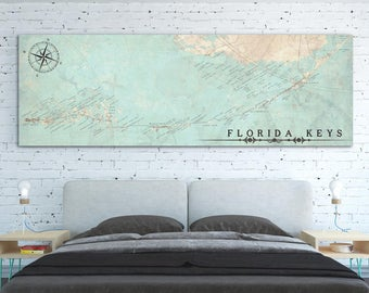 FLORIDA KEYS FL Canvas Print With Names Florida Keys fl Vintage City map Horizontal Panoramic Wall Art Home decor Over Bed large poster map