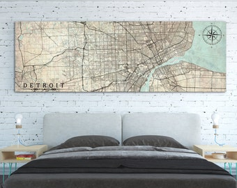 DETROIT MI Canvas Print MI Michigan Vintage map Detroit mi City Horizontal Wall Art Vintage map Panoramic Oversized Large Gift Poster Canvas