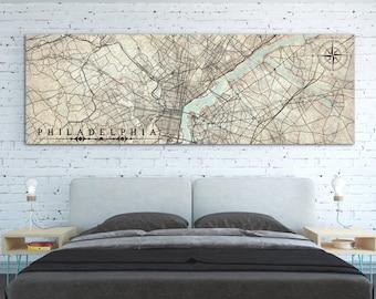 PHILADELPHIA PA Canvas Print Pennsylvania Vintage City map Philadelphia Vintage map Large Horizontal Wall Art Gift poster panoramic antique