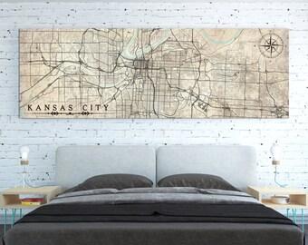 Elegant KANSAS CITY MO Canvas Print Missouri Vintage Kansas City Map Mo Horizontal  Wall Art Vintage Large Panoramic Kansas City Art Office Wall Art