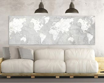 Grey World Map Etsy - Grey world map canvas