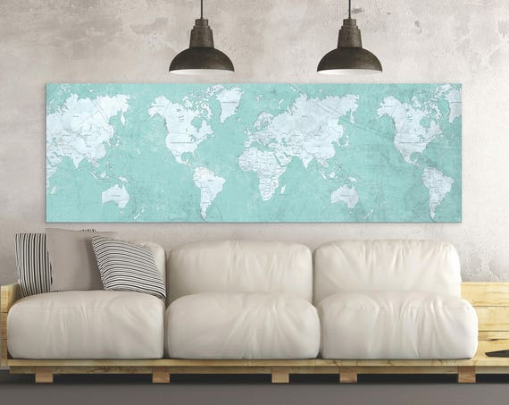 World maps nataly borich art world map canvas print vintage map blue tiffany world map horizontal large wall art panoramic long gumiabroncs Gallery