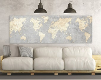 Superior WORLD MAP Canvas Print Vintage Neutral Light Gray Beige World Map Panoramic  Horizontal Long Wall Art