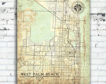Map Of West Palm Beach Florida.Lakeland Fl Canvas Print Florida Fl Vintage Map Lakeland City Etsy