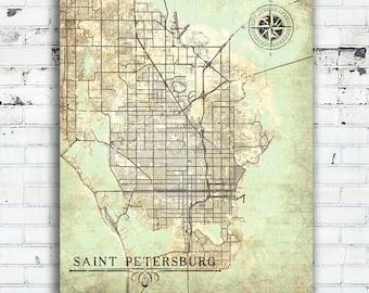 Map Of St Petersburg Florida.St Petersburg Etsy