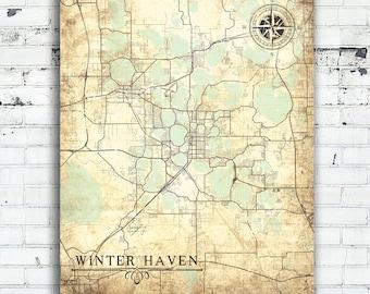 Winter Haven Florida Map.Tallahassee Fl Canvas Print Florida Tallahassee Fl Vintage Map Etsy