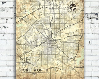 Old fort worth map | Etsy