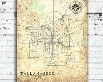 Tallahassee map | Etsy