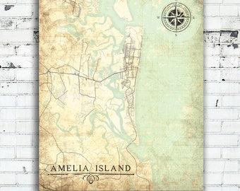 Amelia City Florida Map.Map Of Amelia Island Etsy