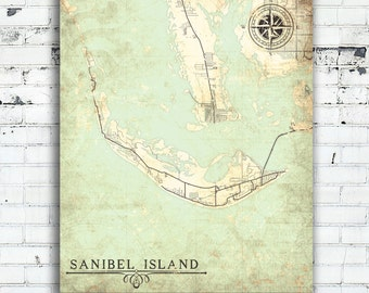 Map Of Sanibel Island Florida.Sanibel Map Etsy