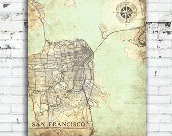 San Francisco Ca Map Etsy - Vintage sf map