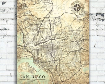 Vintage San Diego Map.San Diego Canvas Map Etsy