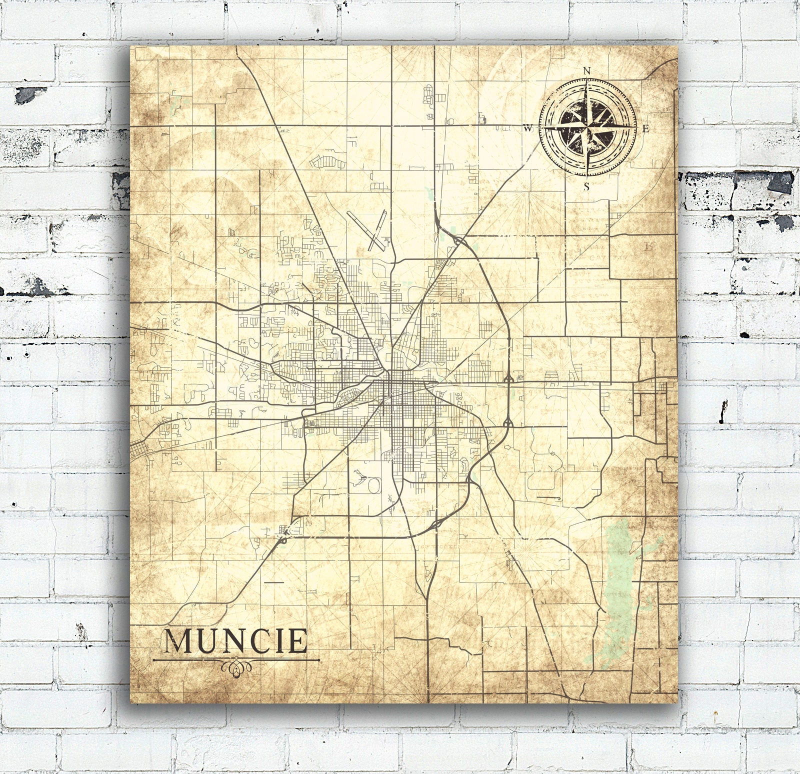 MUNCIE IN Canvas Print Indiana Town City Vintage map Indiana IN ...