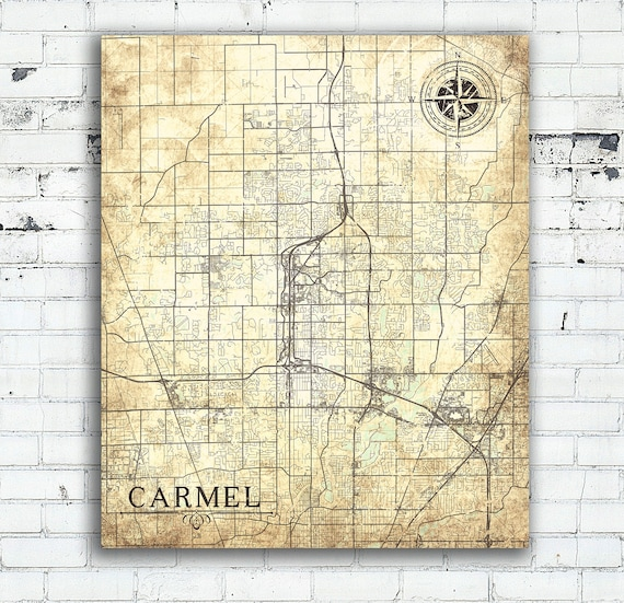 Carmel In Canvas Print Indiana Town City Vintage Map Vintage Etsy