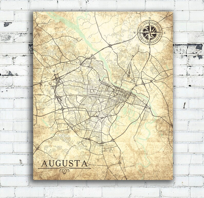Map Of Georgia Augusta.Augusta Ga Canvas Print Georgia Vintage Map Augusta City Map Etsy